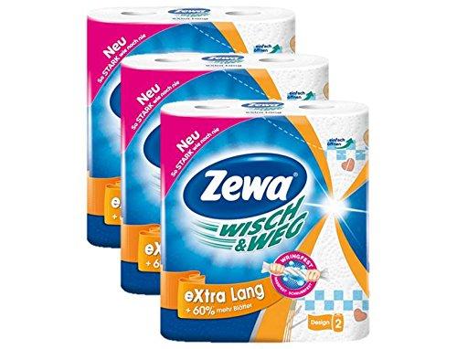 Zewa Wisch und Weg Riesen Küchenrollen Extra Lang, saugstarke Wischtücher, 3 x 2 Rollen (6 x 72 Blatt)