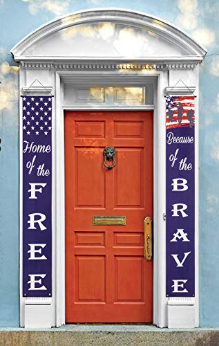 X.NVIOA American Patriotic Decoration Banner 4th of July Porch Sign Hang Flag for Independence Day Labor Day for Indoor and Outdoor