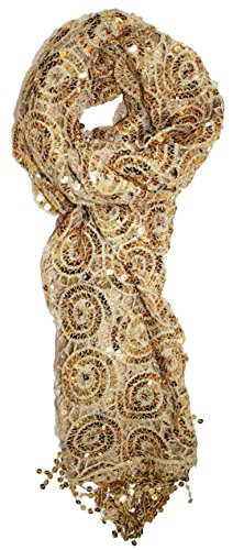 Ted and Jack - Luxe Bedazzled Sequin and Sparkle Scarf in Gold