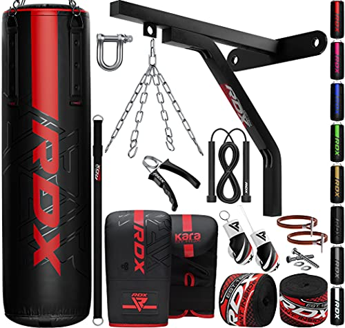 RDX 17PC Punch Bag 5ft 4ft Heavy Filled Set, Non Tear Maya Hide Leather Adult Bag with Wall Bracket Punching Gloves Chain, KARA Patent Pending, Kickboxing Boxing MMA Muay Thai Karate Training Workout