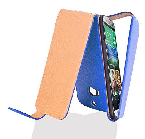 Cadorabo Hülle für HTC ONE M8 in KÖNIGS BLAU - Handyhülle im Flip Design aus Strukturiertem Kunstleder - Case Cover Schutzhülle Etui Tasche Book Klapp Style