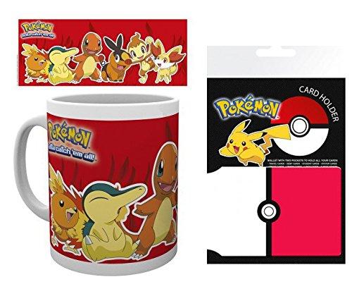 1art1 Pokemon, Feuer Typen, Flemmli, Feurigel, Glumanda, Floink, Panflam, Fynx Foto-Tasse Kaffeetasse (9x8 cm) Inklusive 1 Pokemon EC-Kartenhülle Kartenetui Für Fans Und Sammler (10x7 cm)