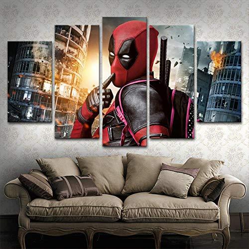 5 Panels Film Deadpool Poster Leinwanddruck Modulare Bild Wandkunst Dekorative Wohnzimmer Oder Schlafzimmer Moderne Kunstwerke(size 2)