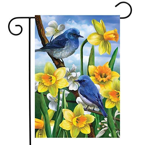 Briarwood Lane Bluebirds and Daffodils Spring Garden Flag Floral 12.5