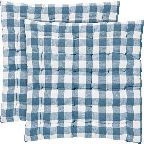 REDBEST Stuhlkissen, Stuhlauflage, Sitzkissen 2er- Pack Landhaus karo Nashville blau Größe 40x40x3 cm - strapazierstark, langlebig, angenehmer Sitzkomfort (weitere Farben)