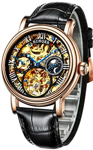 BINGER Men's Watch Automatic Mechanical Stainless Steel Skeleton Leather Band (Gold and Black)
