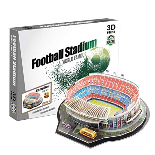 SASKATE DIY 3D Football Field Puzzle Mode, Adults Kid Jigsaw Puzzle 139Pcs Camp Nou Stadium Field Building Sets, 3D Puzzle Craft Art Show