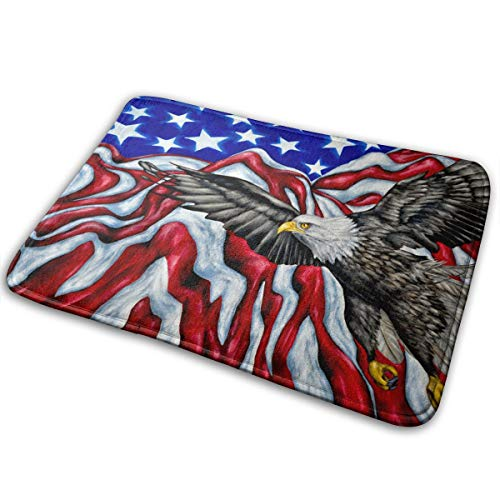 Personality Bath Mats, American Flag Eagles Best Absorbent Bathroom Rugs, Amazing Non Slip Shower Carpet for Bathtub Powder Room Garage Door
