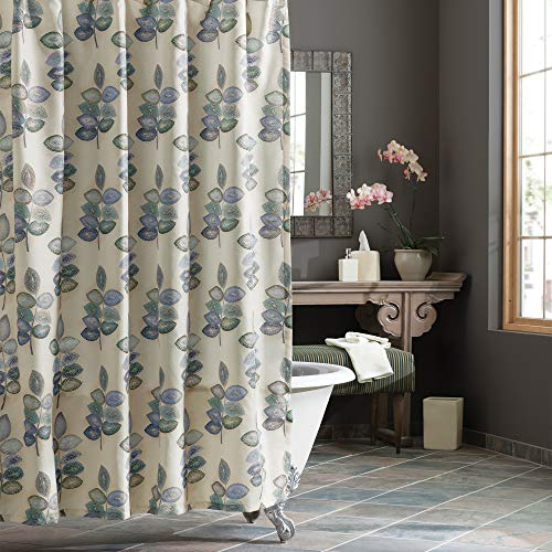 Croscill Mosaic Leaves Spa Shower Curtain, Light Cream