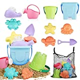TOY Life Sand Toys for Kids - 9 Beach Toys Beach Set Includes Sand Bucket Shovel and Sand Castle Toys for Beach - Sandbox Toys Set Sandcastle Building Kit with Carrying Waterproof Net