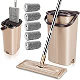 MASTERTOP Flat Floor Mop and Bucket Set - Hands Free Mop Bucket with Wringer Set, 5 Reusable and Washable Microfiber Dust Mop Pads, Stainless Steel Handle Mop Cleaning Bucket,for home,kitchen,Hardwood