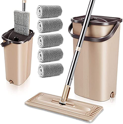 MASTERTOP Flat Floor Mop and Bucket Set - Hands...