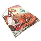 Hothotvery Manta psicodélica de peluche, manta japonesa Kitsune zorro, té impreso, cuadrada, bohemia, manta para niños, color blanco, 130 x 150 cm