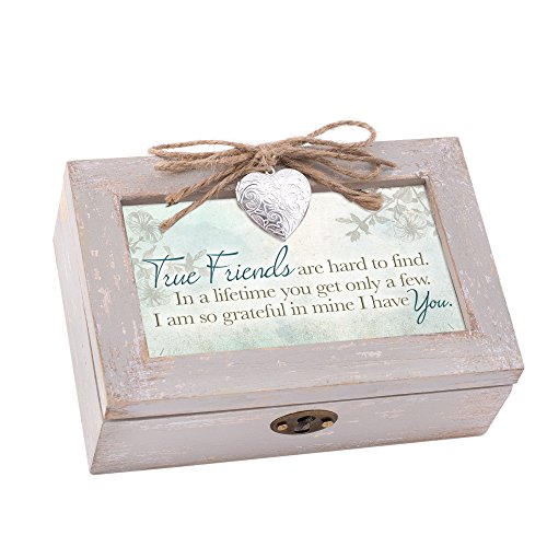 True Friends Hard to Find Natural Taupe Jewelry Music Box Plays Wonderful World