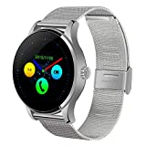 Orologi intelligenti LJR K88H Schermo curvo da 1,22 pollici Bluetooth 4.0 IP54 cinturino in metallo impermeabile IP54 Smart Bracelet con cardiofrequenzimetro e BT Call & Pedometer & Call Reminder & SM