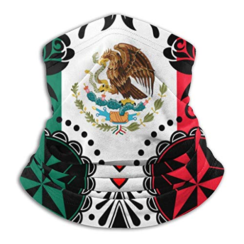 Hdadwy Bandera mexicana Sugar Skull Calentador de cuello suave y agradable para la piel Cubierta facial Pañuelo protector que absorbe la humedad Super Bandana Gorro para clima frío Invierno Deportes a