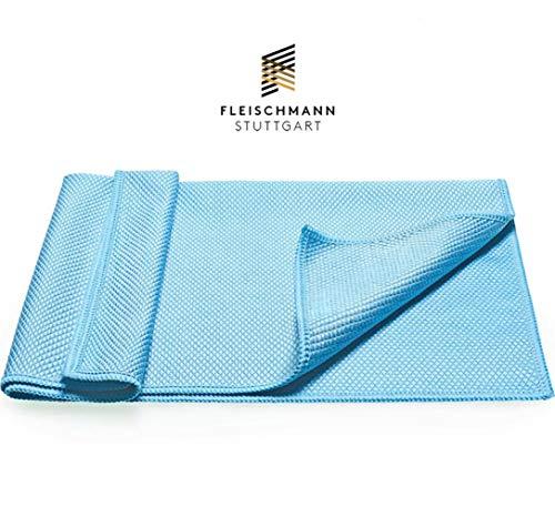 Fleischmann Microfasertuch 1 STK I Reinigungstuch zur Autowäsche/Autopflege I Ideal als Auto Trockentuch I Mikrofasertuch fusselfrei Clear Glass Blau