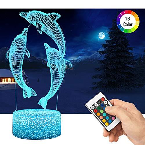 LED Lampara de Mesa 3D Delfines con Control Remoto Sensor Tacto, QiLiTd Regulable Lampara de Noche de Atmosfera Modo RGB, Decoracion Cumpleanos, Navidad Regalos de Mujer Bebes Hombre Ninos Amigas