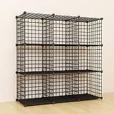 Simpdiy estanteria modular malla almacenamiento, librería armario 9 cubos, estanterias metalicas almacenaje alta capacidad, vitrina almacenamiento artículos la sala estar oficina, 93x32x93cm, negro