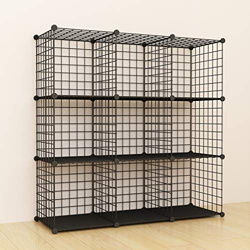 JOISCOPE Bookshelf with Multi-Function Space-Saving 9 Cubes Black Metal Organizer Wire Shelves Cubes Storage Portable Storage Shelf Racks