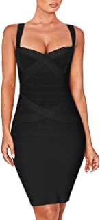 UONBOX Women's Rayon Cute Mini Sleeveless Bodycon Club Party Bandage Strap Dress