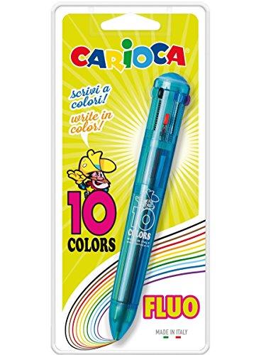 Carioca 41500 - Blister con 1 bolígrafo automático de 10 colores, transparente - Modelo Surtidos- Colores Surtidos