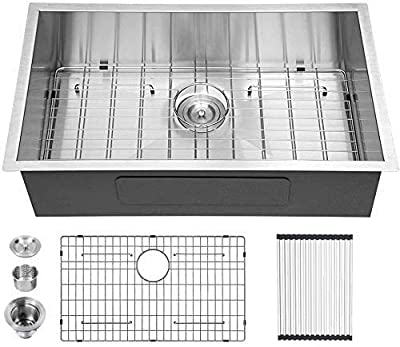 32 Undermount Kitchen Sink - Logmey 32 inch Undermount Sink Single Bowl 18 Gauge Stainless Steel Kitchen Sink Basin