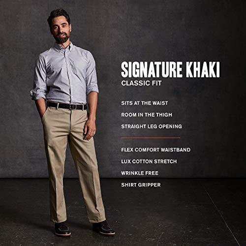 Dockers Men's Classic Fit Signature Khaki Lux Cotton Stretch Pants, paper white, 34W x 32L