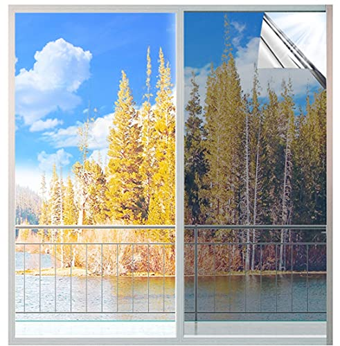 MUHOO 90x400cm Vinilos para Ventanas Efecto Espejo, Lámina de Espejo para Ventanas, Película Adhesiva, Vinilo Ventana Protector Solar Privacidad, Anti 99% UV para Hogar, Oficina