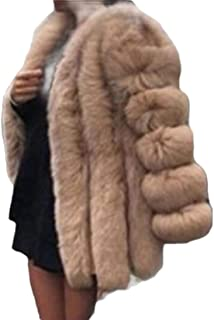 Womens Shaggy Faux Fur Coats Casual Solid Color Long Sleeve Short Outwear Coat Jacket