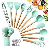 tatufy set utensili da cucina, utensili cucina in silicone(12 pezzi), manico in legno duro utensili da cucina termoresistenti professionali resistente al calore e antiaderente strumento di cottura