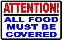 注意!すべての食べ物は覆われている必要がありますブリキのサインヴィンテージ面白い生き物鉄の絵金属板人格ノベルティ