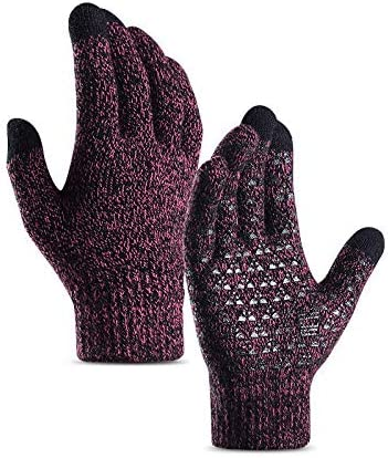 Lupovin-Keep Warm Pair Men Women Winter Touch Screen Warm Gloves Windproof Raincoat Drive Riding Thermal Full Finger Non-Slip (Color : Rose Red, Size : Men)