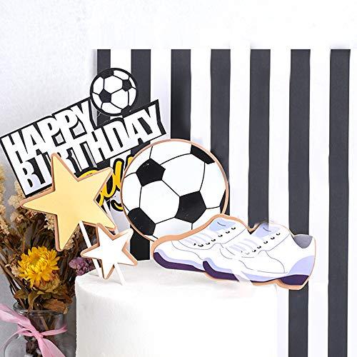 YGSAT 1 Satz Fußball Cake Toppers Happy Birthday Tortendeko Kuchendeko Geburtstag Fußball Tortendeko Tortenaufleger Fussball für Geburtstag Torte Dekoration