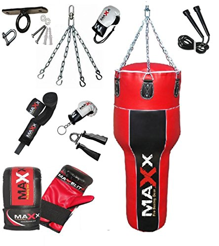 New 4FT angled uppercut body bag punchbag, choice of colour and package FREE CHAIN (blkred 12pcs+hook)