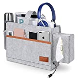 Binen Bedside Organizer, Felt Bed Storage Caddy with Tissue Box and Bottle Holder Magazine Phone Tablet Remote Chargers Bedside Caddy for Home College Dorm Bed Rails, Sofa, Bunk Beds