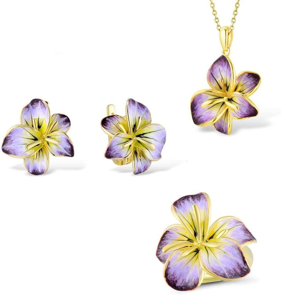 N A JewelrySet for Gorgeous Blooming Pendant OFFicial shop Earrings Rin Max 79% OFF Flower