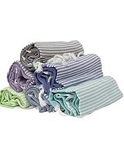 Turkse handdoek, Peshtemal, Set van 6, XL Turkse katoen Peshtemal handdoek, Hamam handdoek, Wrap, Pareo, Fouta, Gooien, Deken, dun, zacht, Peshtemal, Pestemal, vel