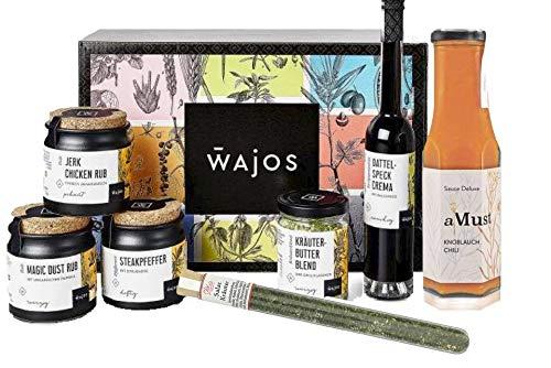 Wajos Grillset mit Geschenkbox - Tolles Geschenk für Grillfans - Mitbringsel zur Grillparty - Geschenkkorb / Feinkost