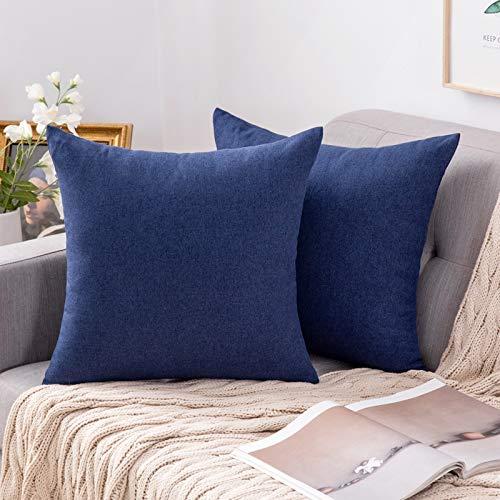 MIULEE 2er Pack Home Dekorative Kissenbezug leinenkissen Kopfkissenbezug Leinen Kiessehülle sofakissen für Sofa Schlafzimmer mit Reißverschlüsse Kissenbezüge 45x45 cm Navy Blau