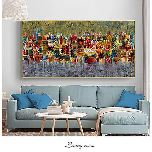 Abstrakte Kunst Leinwand Poster und Druck Landschaftsmalerei an der Wand Wandbilder für Wohnzimmer Kunstdruck 40X80CM