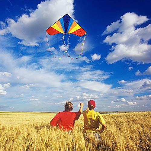 カイト凧凧揚げ子ども大人初心者用アウトドアおもちゃカラフルカイト微風で揚がる三角凧紙鳶軽量丈夫凧糸80M収納バッグ日本語説明書付き