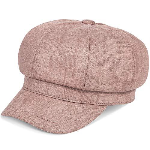 ColorSun Women's Newsboy Caps Newsboy Hats for Women Cabbie Fiddler Octagonal Paperboy Hat (Pink-HW, Medium)