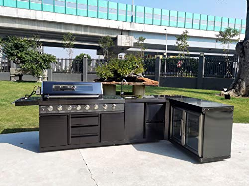 Modular 4 Piece Island Electric and Propane or Natural Gas BBQ Outdoor Black Stainless Steel Grill Kitchen with Double Wine Refrigerator, Sink, Rotisserie, Black Marble Top and FREE Protective Canvas Cover Grills Propane
