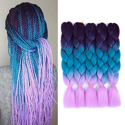 5 Packs 24 pouces Jumbo Tressage Cheveux Ombre Tressage Cheveux 3 Tons Kanekalon Synthétique Tressage Cheveux pour Twist Extension de Cheveux Tressage Cheveux(5pcs, Purple/Blue/Light Purple)