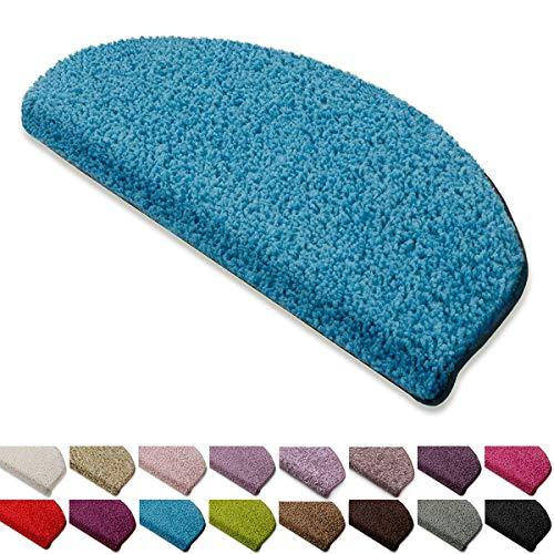 casa pura Shaggy Stufenmatten Barcelona Schutz für Treppenstufen | weicher Hochflor | GUT-Siegel und Blauer Engel | halbrund | Einzeln oder als Set | viele Farben | 15er Set | Hellblau