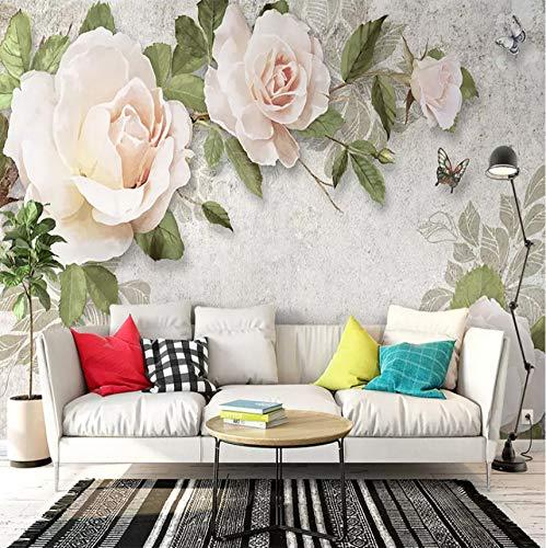 Kyzaa Custom 3D wallpaper modern handgeschilderd bloemen olieverfschilderij Europese stijl 3D woonkamer TV achtergrond muur decoratie 140X100cm (55.12*39.37 in)