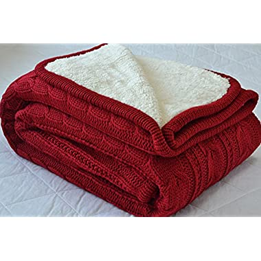 MeMoreCool Cosy Cable Knitting Throw All Season Sofa/Bedding/Couch Soft Throw Blanket Kids Indoor/Outdoor Blanket Warm Quilt Throw