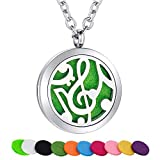 SWOPAN Essential Oil Diffuser Necklace Aromatherapy Music Note Diffuser Locket Pendant Stainless Steel Necklaces for Women Men Aroma Therapy Perfume Necklace Jewelry Gifts, Music Note Diffuser Locket