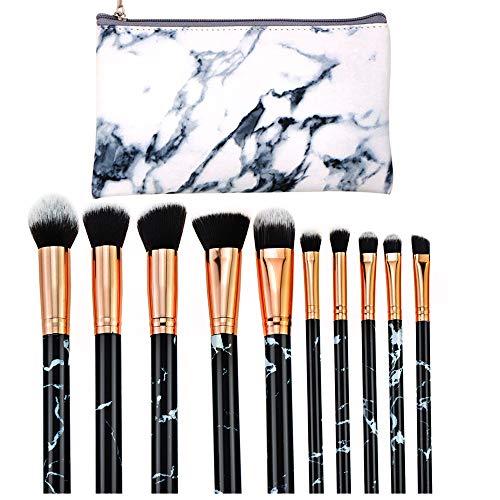 Contever Pinceaux à Maquillage Professionnel 10 Pieces Foundation Blush Powder Eye shadow Blending Brushes Cosmetic Brush Kit avec PU Cosmétique Sac - Marbre Motif